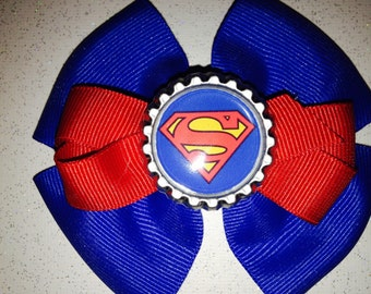 Superman Inspired Hair Bow