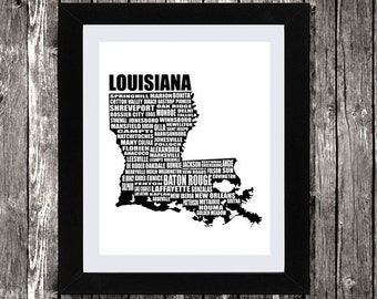 """Map of Louisiana, Typographic Map, Louisiana state map, Instant Download, New Orleans, Wall Art, Black and White, Typography, 8 x 10"""""""