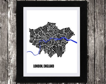 """Map of London, London Map, Typography Map of London, Instant download London Map, British Map, London England Map, Wall Art, 8 x 10"""""""