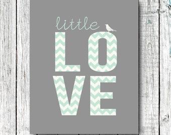 Nursery Art Printable, Teal Chevron, Mint, Little Love, Bird, Modern Art, Nursery Decor, Size 8x10