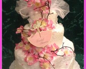 Cherry Blossom Bridal Shower towel cake