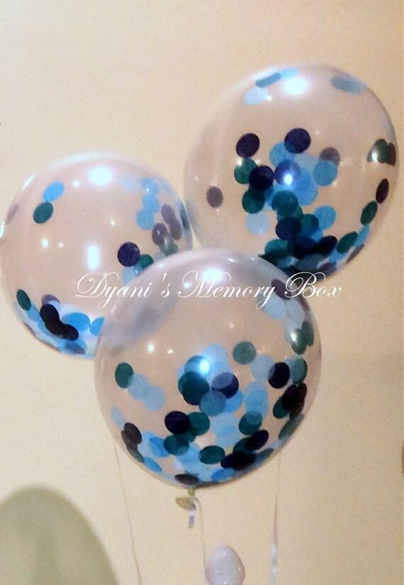 Confetti filled balloon beach wedding balloon blue ombre balloon
