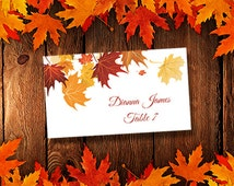 """Printable Place Cards Template """"Falling Leaves"""" Avery 5302 Compatible Editable Microsoft Word Tent Card Wedding or Thanksgiving  DIY U Print"""