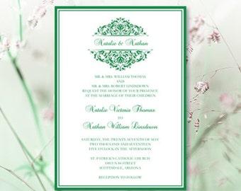 Emerald green invite | Etsy