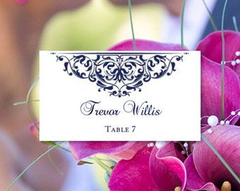 "Printable Place Cards ""Grace"" Navy Blue Word.doc Tent Card Template Avery 5302 Compatible ANY 1 or 2 COLORS DIY You print"