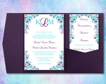 "Wedding Invitations ""Kaitlyn"" Purple & Turquoise Pocket Card Printable Templates Directions, Accommodations, RSVP, Reception DIY U Print"