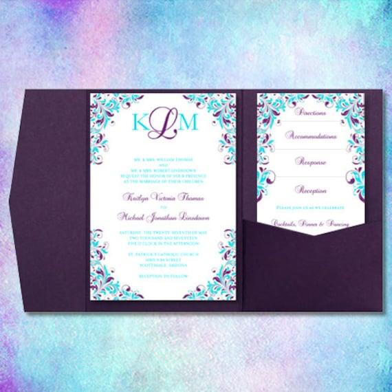 Wedding Invitations Turquoise: Wedding Invitations Kaitlyn Purple & Turquoise
