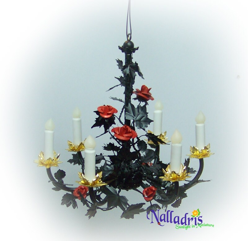 Dollhouse 1:12 Black Tole Chandelier With Red Roses By
