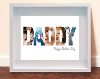 Personalised Framed Photo-Typographic DADDY Print