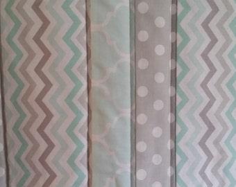 Modern Chevron / Polka Dot Neutral Handmade Baby Quilt / Crib Quilt