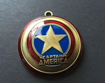 Captain America Shield 3D Charm Pendant, Bronze, USA, Steve Rogers, Hero, SHIELD, Avengers, Super Hero, Key Chain, Large, Oversize