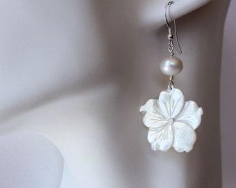 Carved Pearl Plumeria Earrrings, Carved Frangipani Pearl Earrings, Hawaiian Shell Plumeria Earrings, Beach Wedding Earrings, Bridesmaid Gift
