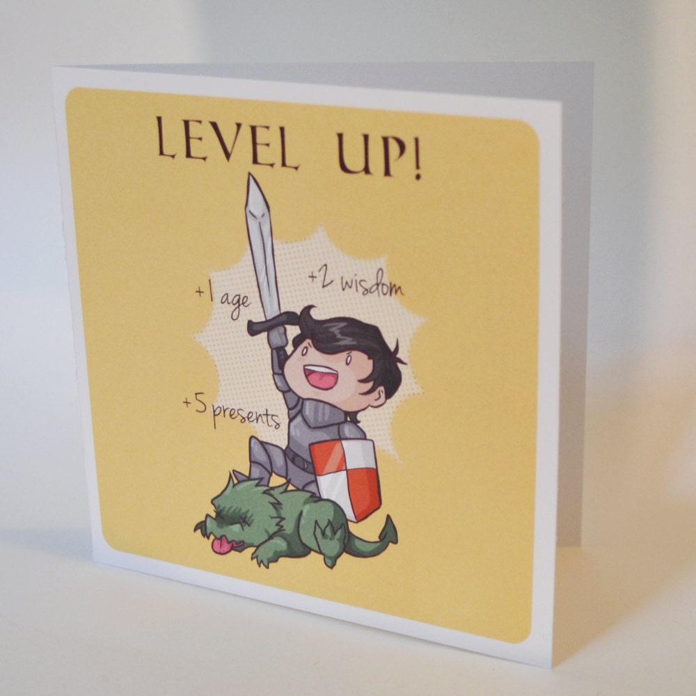 Geeky Birthday Card Level Up Design Sweet Nerdy Fantasy