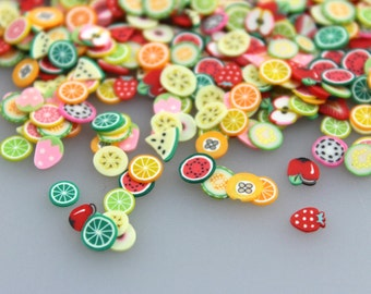 100pcs Assorted mixed fimo slices  fruit   Nail Art