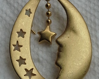 Vintage Liz Claiborne pin/brooch moon and stars brushed gold tone
