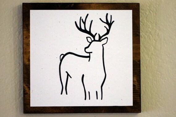 Animal minimaliste art dessins originaux sur bois cerfs for Dessin minimaliste