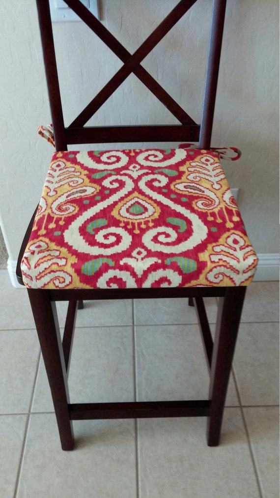 Ikat Print Cushion Cover Kitchen Chair Barstool Counter