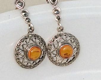 Baltic Amber Earrings, Genuine Amber Earrings, Sterling and Amber Earrings, Art Deco Earrings, Fossil Earrings, Vintage Amber Earrings.