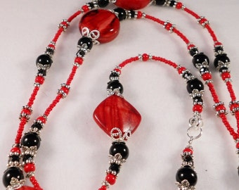 Super Long Red Beaded Lanyards (free shipping)