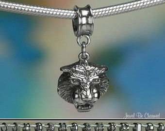 Sterling Silver Tiger Charm or European Style Charm Bracelet .925