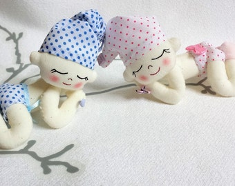 Shower gift, pregnancy announce, birth gift, baby asleep, decorative baby doll, cloth doll, baby keepsake, collectible