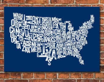 USA Typographic Map