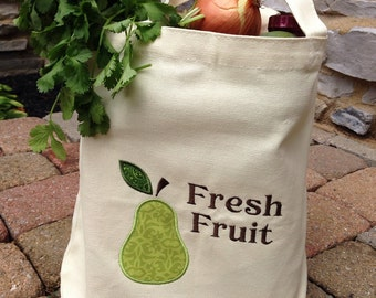 Reusable Grocery Bag with Embroidered  Pear Appliqué, Personalized