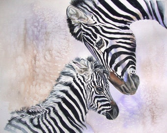 Childs Room ZEBRA Watercolor Painting Giclee Art Print Watercolor Painting by Diana Turner, Children Decor, Wall Decor, 11 x 14