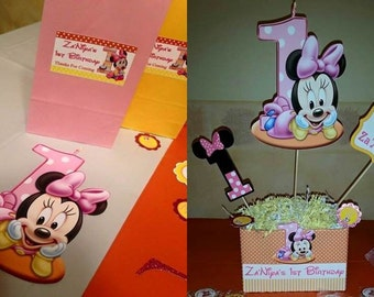 Girl Mouse 1st Birthday Party Pack