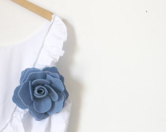 Felt Flower Pin, Light blue Flower, Felt Pin, Wool Felt Flower Pin