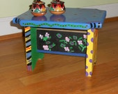 Whimsical painted shelf or stand, hand painted, for the home