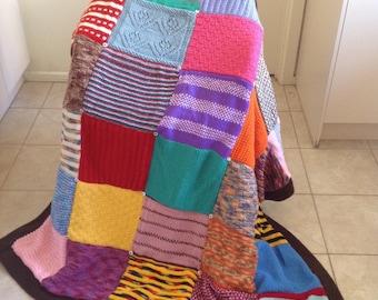 Handmade Double Sided Knitted Squares Sampler Blanket