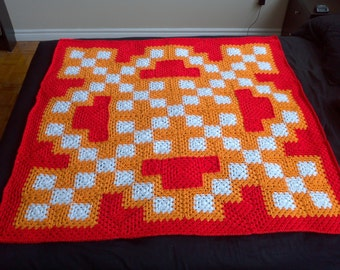 Crochet Blanket Pattern pdf: Kaboom! blanket - granny square, child size, adjustable sizing, 4th of July, Canada Day, fireworks display