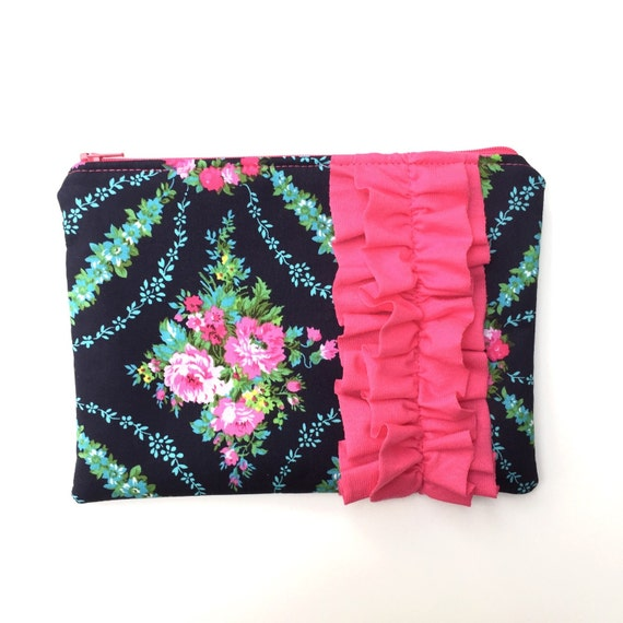 Floral Pink Ruffle Clutch/Blue And Pink Floral By ZelenasCreations