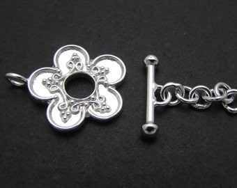 1 Set, 17.5mm, Sterling Silver Toggle
