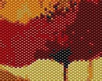 Poppies Peyote Cuff Beaded Bracelet Pattern