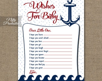 Nautical Wishes For Baby Game - Nautical Baby Shower Games - Printable Baby Wishes - Navy Red White Baby Shower Game - Nautical Shower RNT