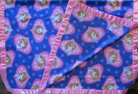 Sophia the First fleece toddler blanket with satin edge