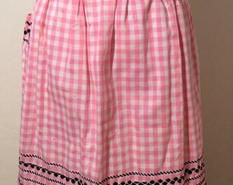 Vintage 1950s Handmade, Pink Gingham with Black Trim, Half Apron