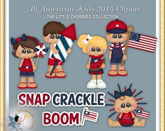 Independence Day Clipart, 4th of July, Patriotic, Chubbies, All American Kids 2015