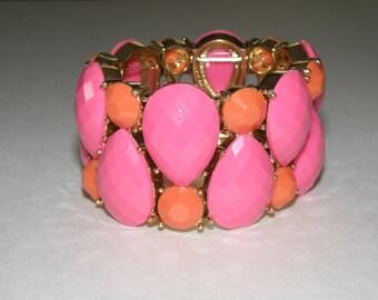 Bright pink and orange stretch bracelet