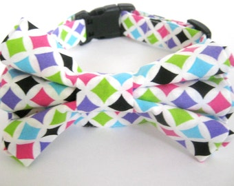 Dog collar with bow tie Dog bow tie collar Pet collar Colorful collar and bow tie