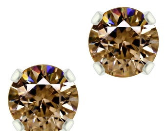 925 Sterling Silver Natural 6mm Diamond Cut Smoky Quartz Gemstones Stud Earrings