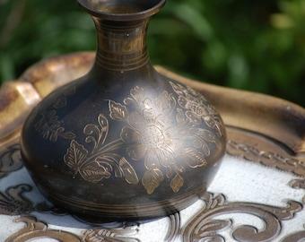 Vintage Brass Engraved Vase