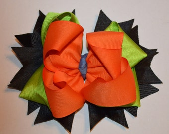Custom made-Goofy Bow-Girls Hair Bow-Orange, Lime Green, Black Ribbon-Stacked Hair Bow-Big Hair Bow-Boutique Hair Bow-Babies-Toddlers