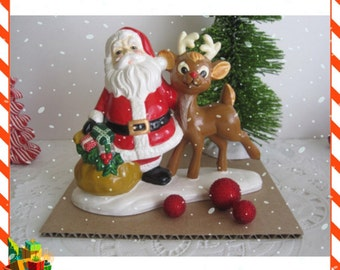 Ceramic Santa and Rudolph