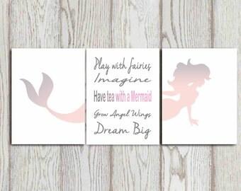 Mermaid print Mermaid quote Set of 3 Pink gray Girls room decor art Girls quote Girls bedroom decor Nursery wall art DOWNLOAD 8X10