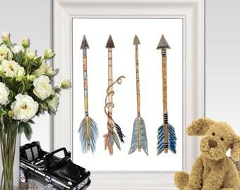 Arrow print Watercolor arrow printable Nursery arrow wall art Navy Blue arrow art Boys bedroom decor Native wall decor Tribal decor Download