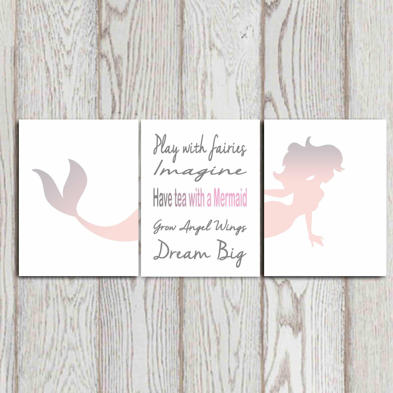 Pink And Grey Girls Bedroom Mermaid Print Mermaid Quote Set Of 3 Pink Gray Girls Room
