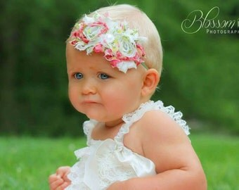 Floral headband-baby headbands-infant headbands-newborn headbands-baby girl headbands-shabby headbands-baby hair bows-baby girl gifts-baby